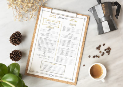 Menu paper mockup with coffee cup in restaurant for input design